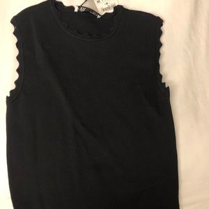 Black Zara Scalloped Top NWT